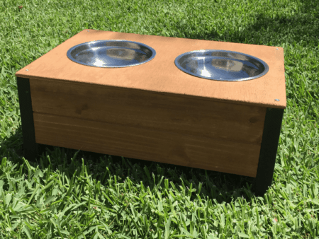 Elevated food and water with stainless steel dog bowls