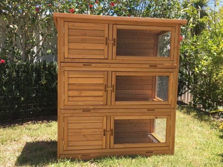 Front view of Tri-Level Hutch for rabbits